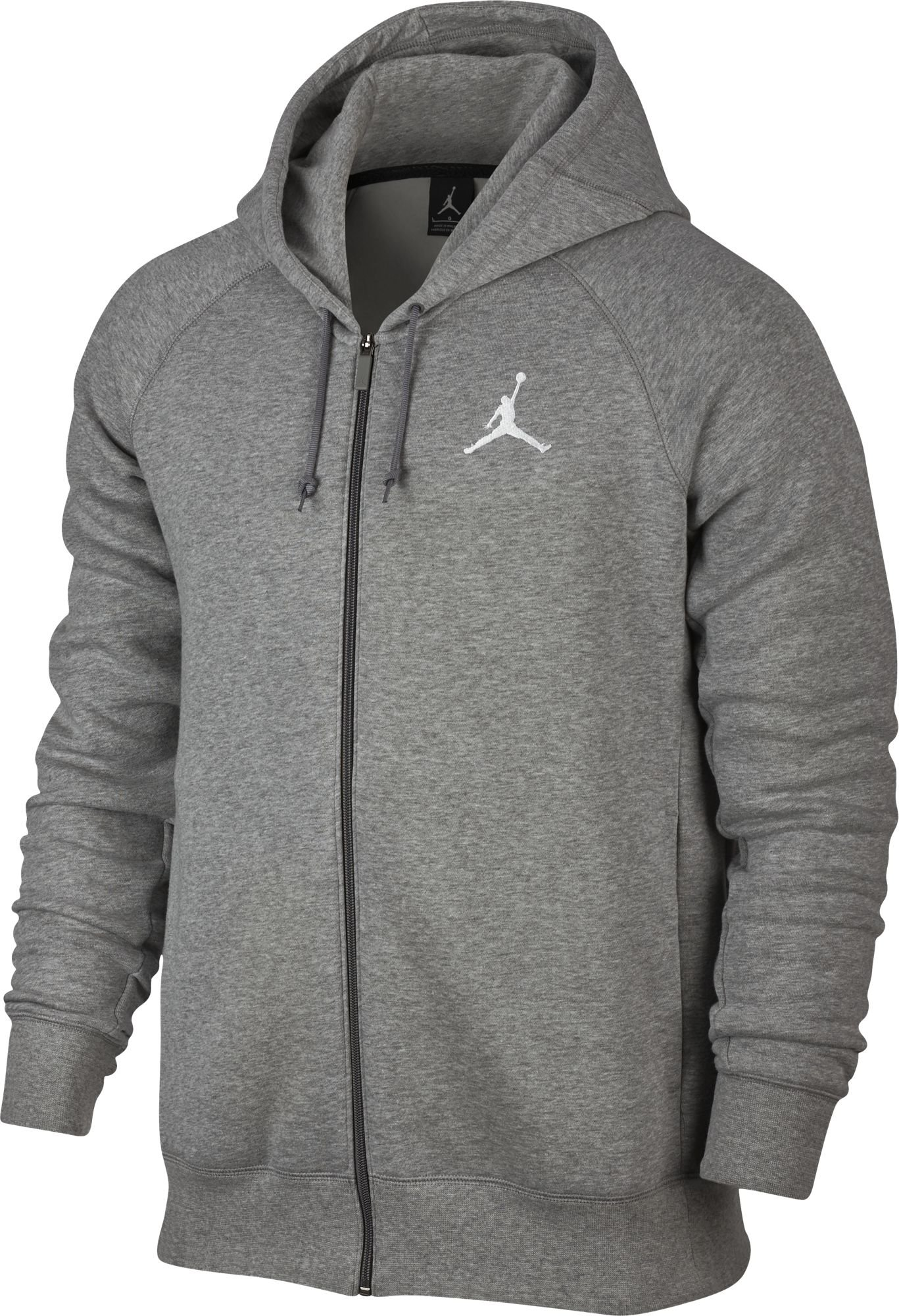 Nike Mens Jordan Flight Full Zip Hooded Sweatshirt Light Grey/White 823064-063 Size Medium
