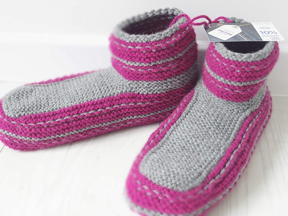 Hand knitted House shoes Knitted slippers EU men size 41.5-42.5 Knitted socks Slippers Hand knitted Slippers Original Gift Idea