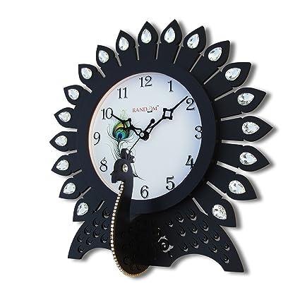 Random Clocks Dancing Peacock Round Wood Wall Clock (30 cm x 30 cm x 5 cm)