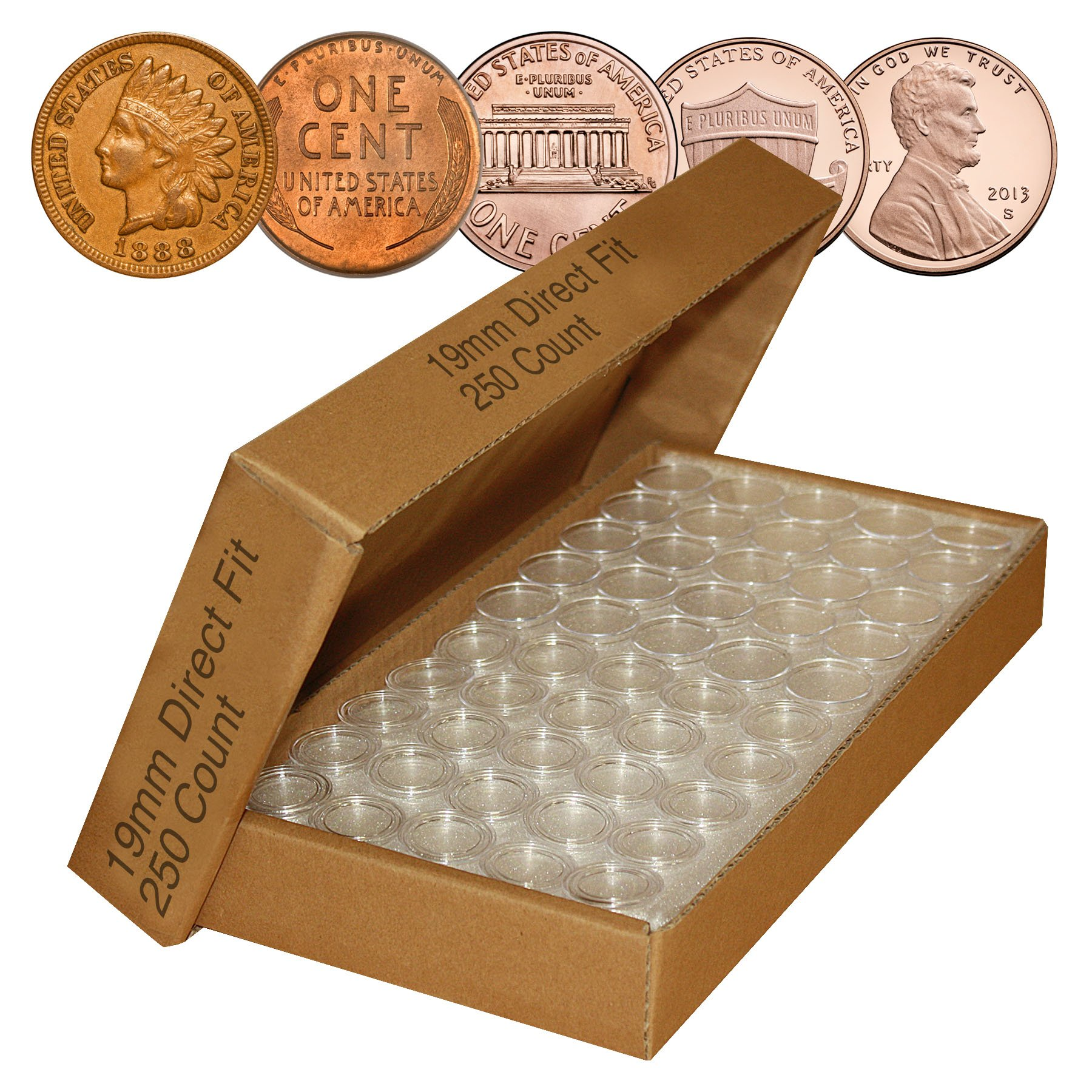 PENNY Direct-Fit Airtight 19mm Coin Capsule Holders For PENNIES (QTY: 250)