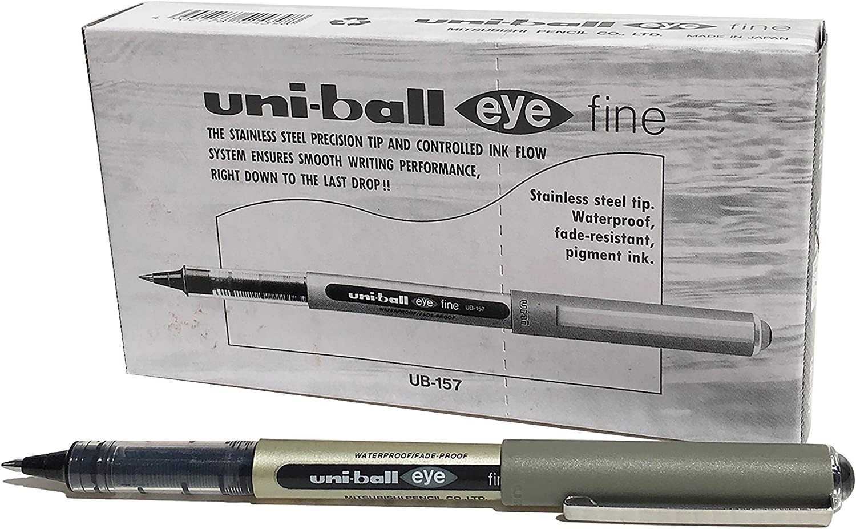 Uniball UB-157Eye Fine Bolígrafo, tinta negra Uni Súper, punta de 0,7mm, 12unidades)