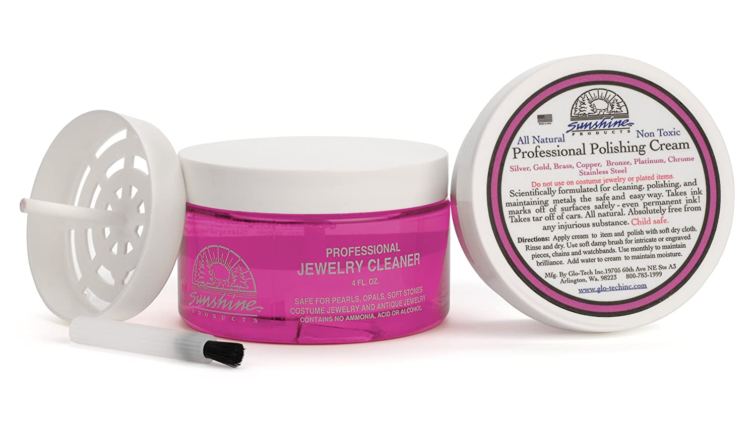 Pink Lady Sunshine Jewelry Cleaner 4 ounce Kit with Metal Polish Ponte USA PL4K03