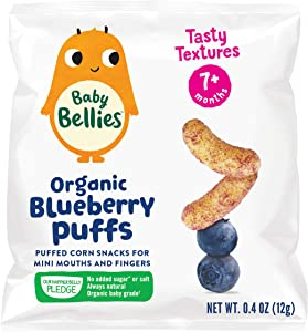 Baby Bellies Organic Puffs Baby Snack, Blueberry, Pack of 6 Individual Snack Packs