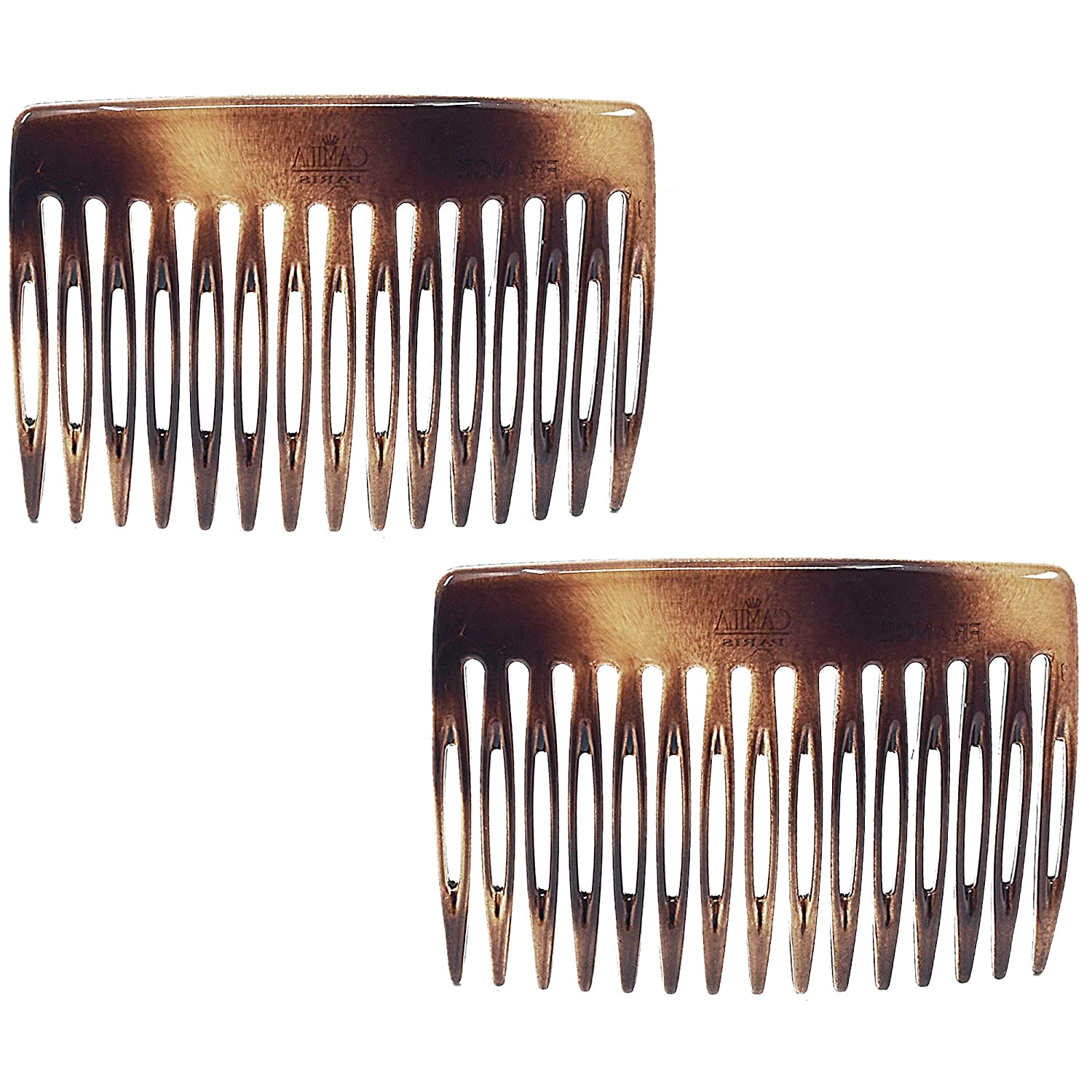 Camila Paris CP50/2 3 inch French Hair Side Combs Small Set of 2 Rounded, Flexible Durable Cellulose Hair Combs, Strong Hold Hair Clips for Women, No Slip Styling Girls Hair Accessories Made in France : Beauty