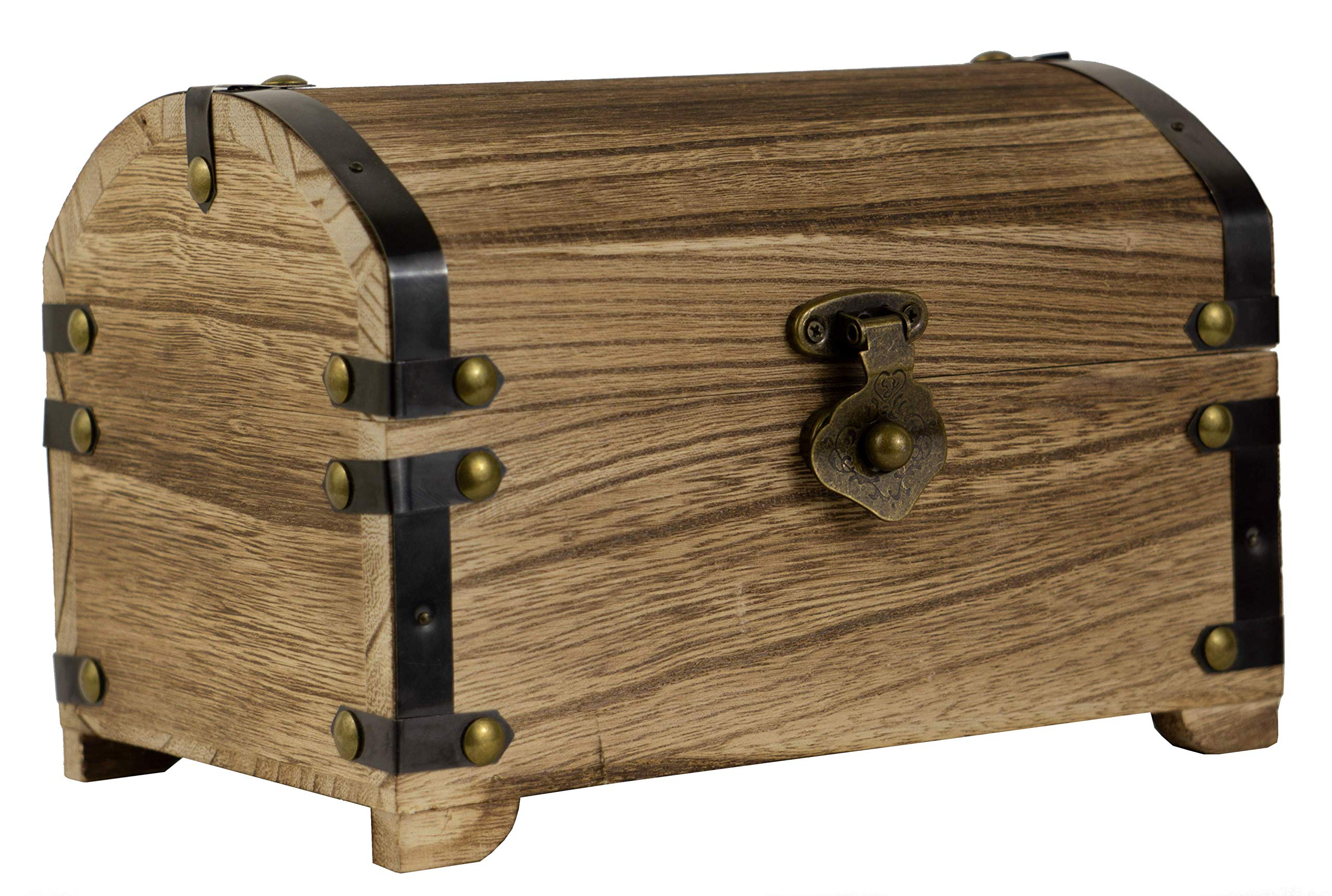 CoreDP Decorative Vintage Wood Treasure Chest, 8.3x5.5x5.5 inches with 90 Degree hinged lid, Old-Fashioned Design, Metal Outline and Buckle [Keepsake Box/Jewelry Box/Toy Treasure Chest]