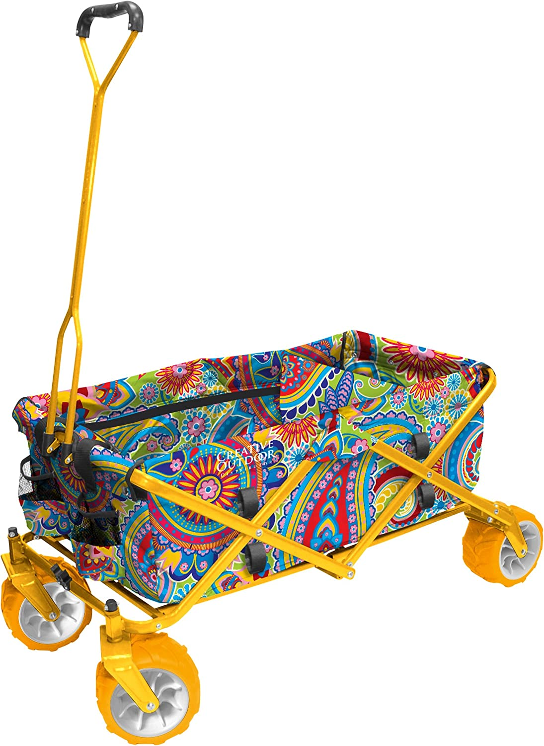 Creative Outdoor Collapsible Folding Wagon Cart for Kids and Pets | All Terrain | Beach Park Garden Sports & Camping | Paisley Yellow