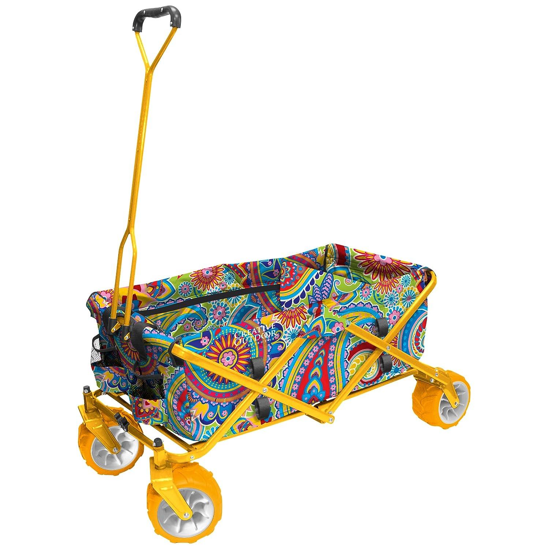 Creative Outdoor Distributors 900268-Paisley Yellow All-Terrain Folding Wagon, Yellow