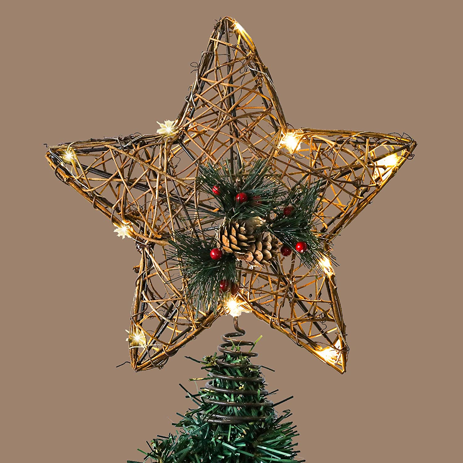 Christmas Decorations Battery Operated Not Included Valery Madelyn Christmas Tree Topper Sparkling Winter 12.2Inch//31cm Pre-Lit Copper Rattan Star Tree Decoration with 10 Warm LED Lights