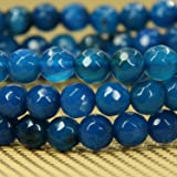 Natural Faceted Blue Agate Gemstone 6mm Round Beads