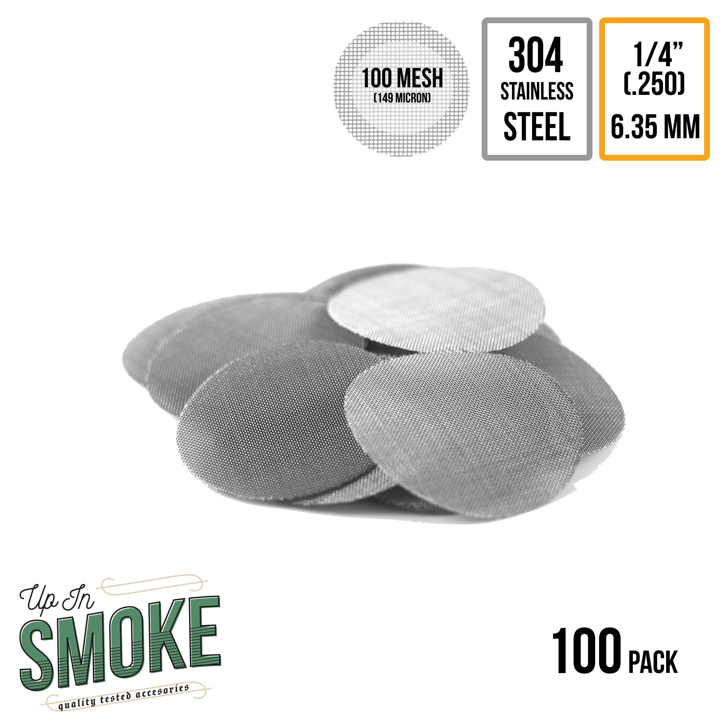 Made in the USA - 100 1/4'' (.250'') 304 Stainless Steel Premium Pipe Screen Filters by Up in Smoke Pipe Screens