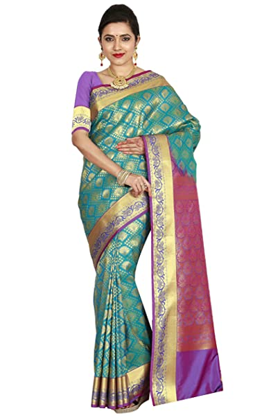 5240072651 Image Unavailable. Image not available for. Colour: arars Women's  Kanchipuram Silk Saree Bridal Collections ...