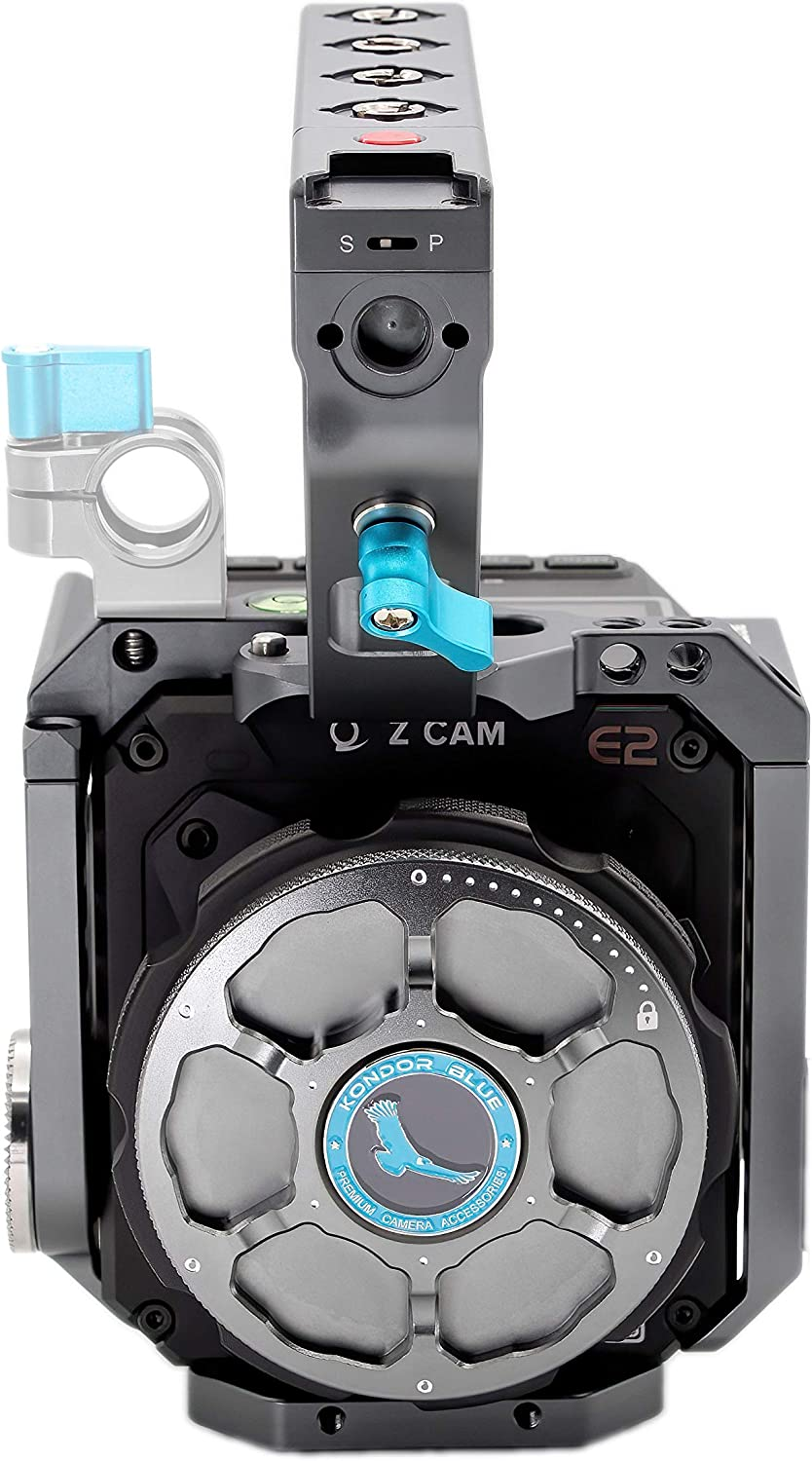Rosette 15mm Rod NATO Rails KONDOR BLUE Z Cam Flagship Cage Rig with LANC REC Top Handle for Z Cam S6 F6 F8 Space Gray Baseplate and Optional T5 SSD Holder. Bubble Leveler