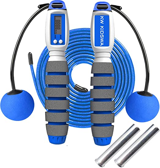 Men Children With Multi-Function Calorie Counter Fitness Skipping Rope With Ball Bearings.Adjustable Counting Jump ropes Suitable for Women KozyOne Jump Rope Digital Weighted Handle Jumping Rope