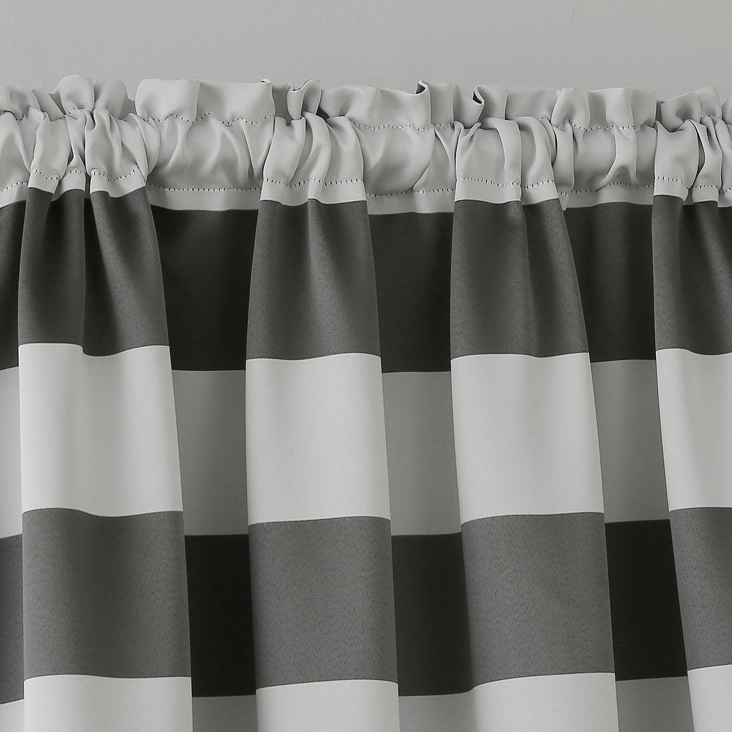 Home Kitchen Deconovo Striped Blackout Curtains Rod Pocket Black And Greyish White Striped Curtains For Living Room 42w X 84l Black 2 Panel Curtains Balloon Shades