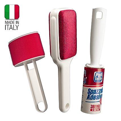 SET de cepillos para la limpieza de la ropa, sofás, alfombras: Cepillo adhesivo con 36 hojas precortadas, longitud 5 metros, cepillo de terciopelo ...