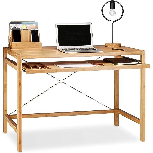 Relaxdays - Mesa de Ordenador, Teclado cajón de Madera, Escritorio ...