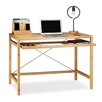 Relaxdays Computertisch Holz Tastaturauszug Bürotisch Ausziehbar