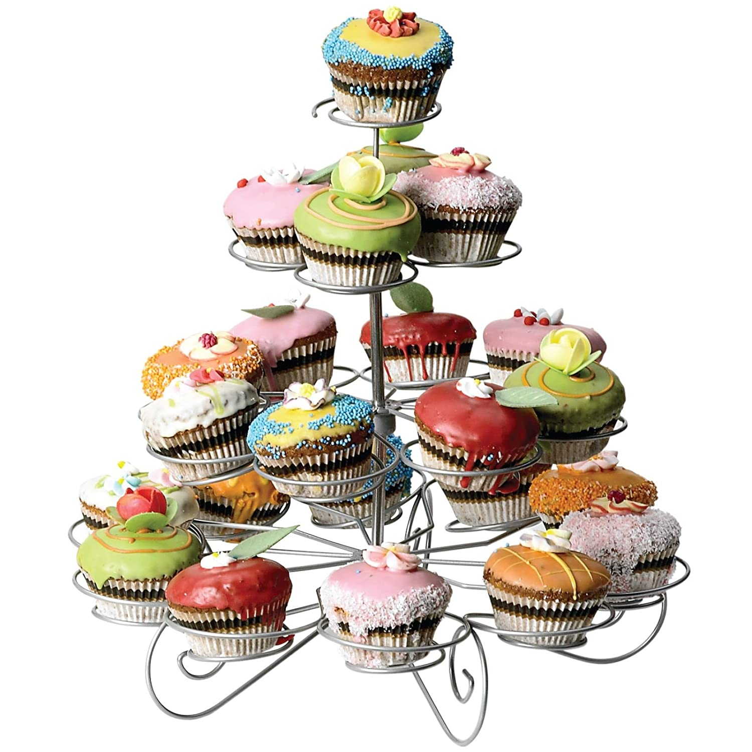 ASAB Cupcake Stand Muffin Holder Display Table Decor Steel Wire Frame Design For Weddings Birthday Party Baby Shower - 3 Tier