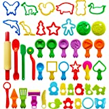 FRIMOONY Play Dough Tools for Kids, Various Plastic Molds, Assorted Colors, 45 Pieces