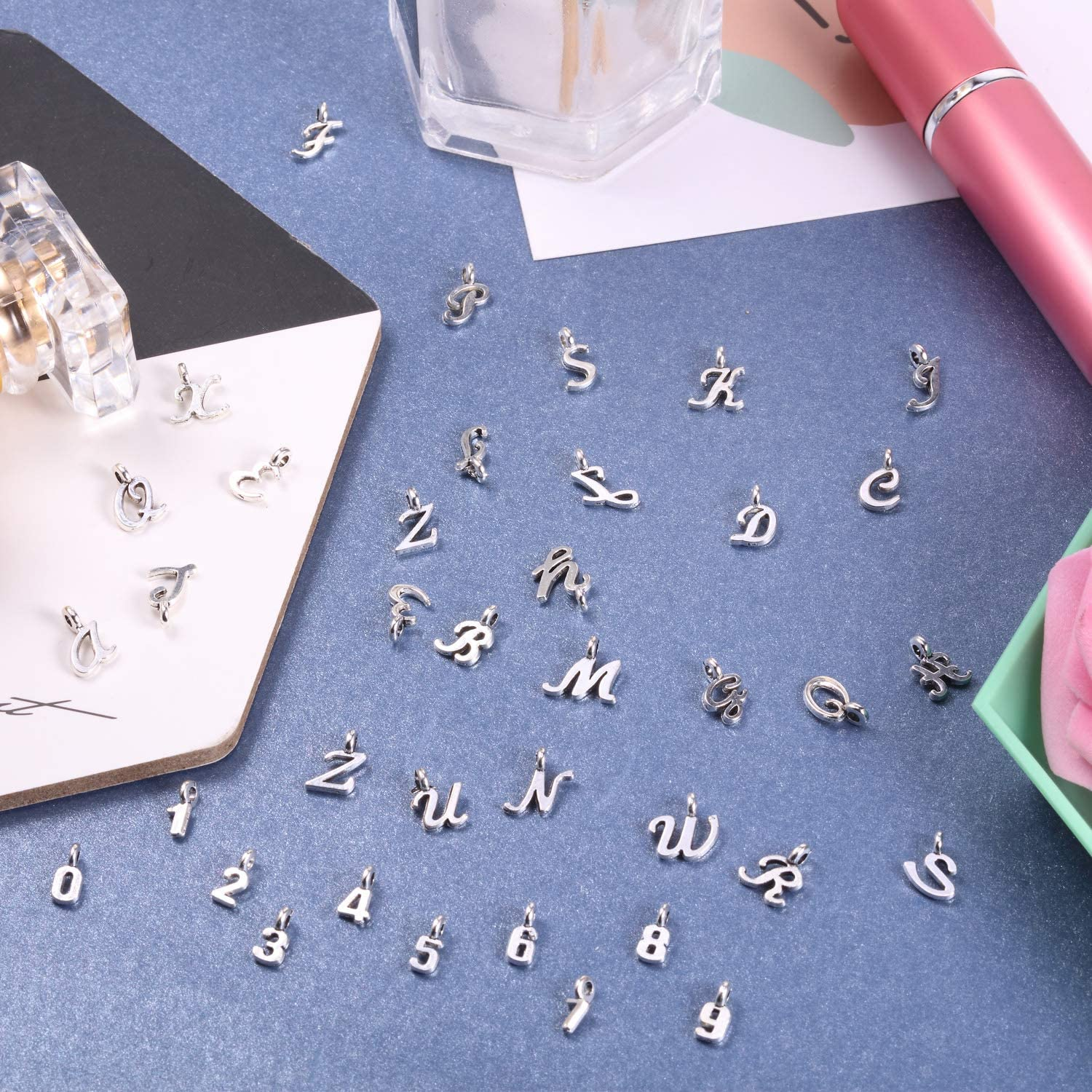 180 Pieces Alphabet Charms Beads Alphabet Letter Mixed Charms Mini Arabic Number Charms Pendant for Necklace Bracelet Jewelry Making Accessory
