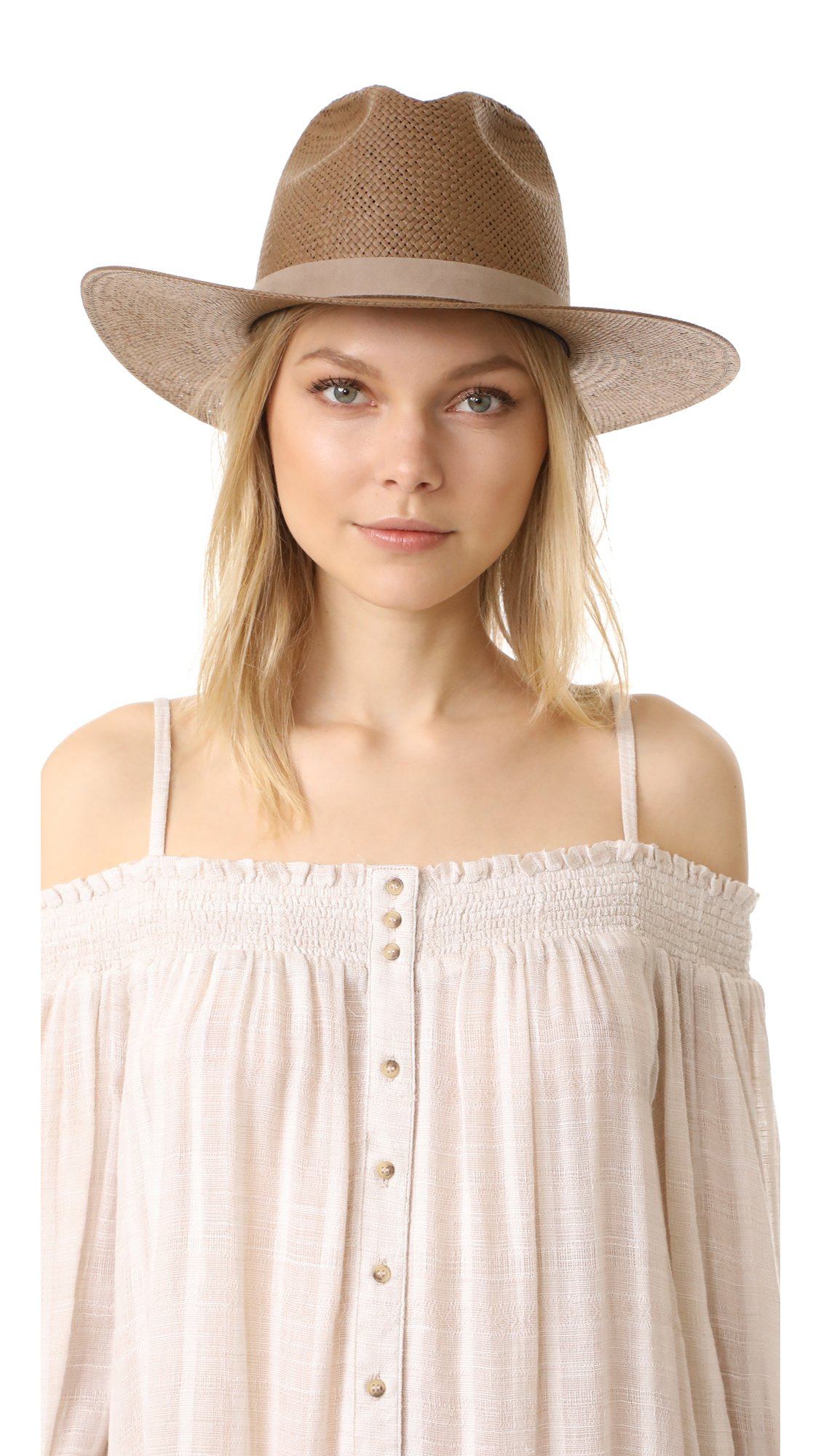 Janessa Leone Women's Packable Adriana Short Brimmed Fedora, Brown, Medium