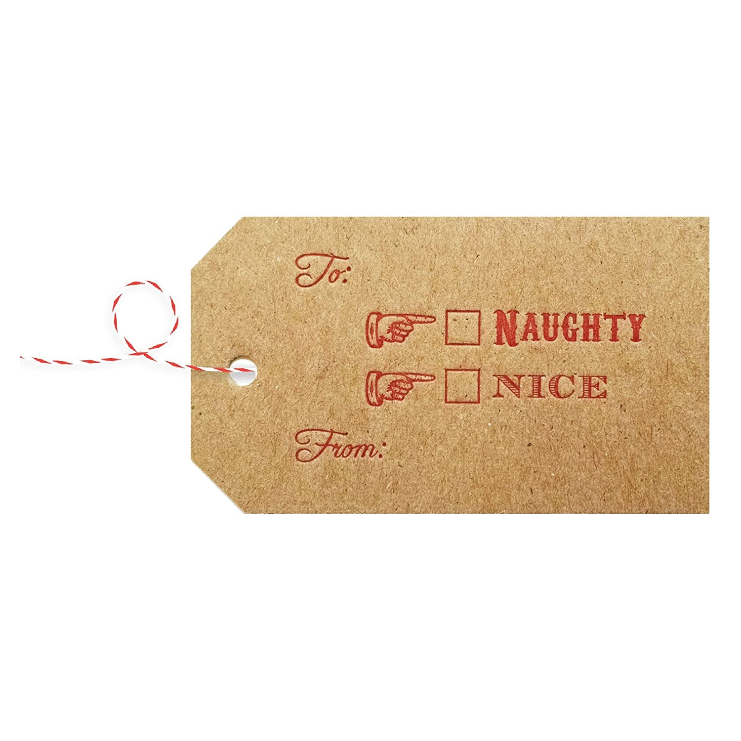 Naughty or Nice Christmas Gift Tags Letterpress Printed on Natural Chipboard pack of 8