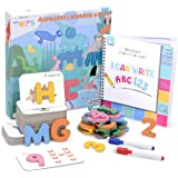 Motlan Montessori Alphabet/Numbers Flashcards Set - Wooden Letters and Numbers ABC Matching Puzzle for Toddlers (73 Piece Set