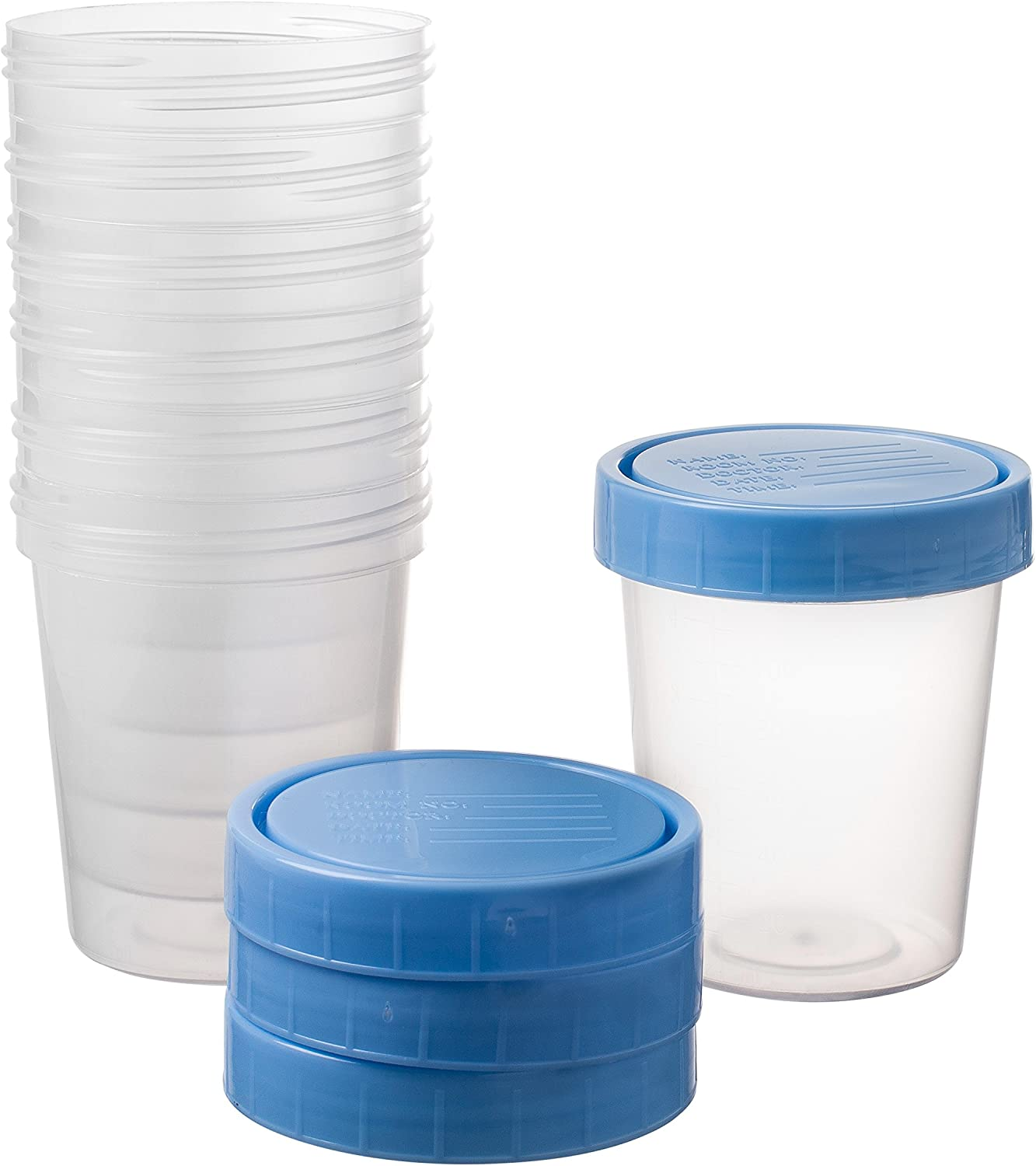 Specimen Cups With Leak Proof Screw on Lids - 4oz [Pack of 25] Non-Sterile Urine Sample Containers