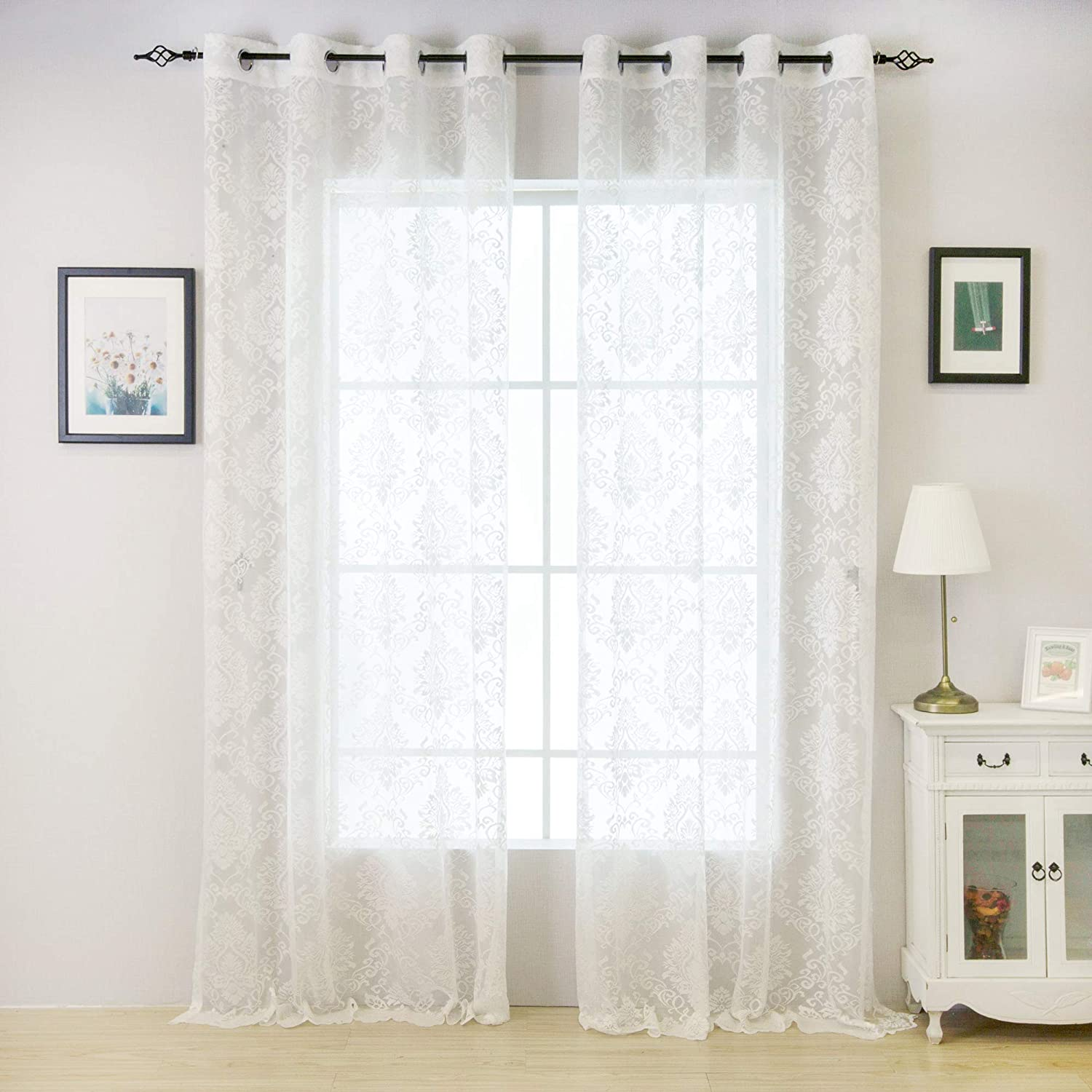 Amazon Com Valea Home Lace Sheer Curtains Grommet Drapes For