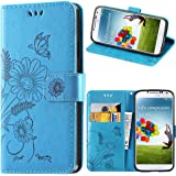 kazineer Galaxy S4 Case, Premium Leather Phone Wallet Case Protective Cover for Samsung Galaxy S4 - Turquoise blue