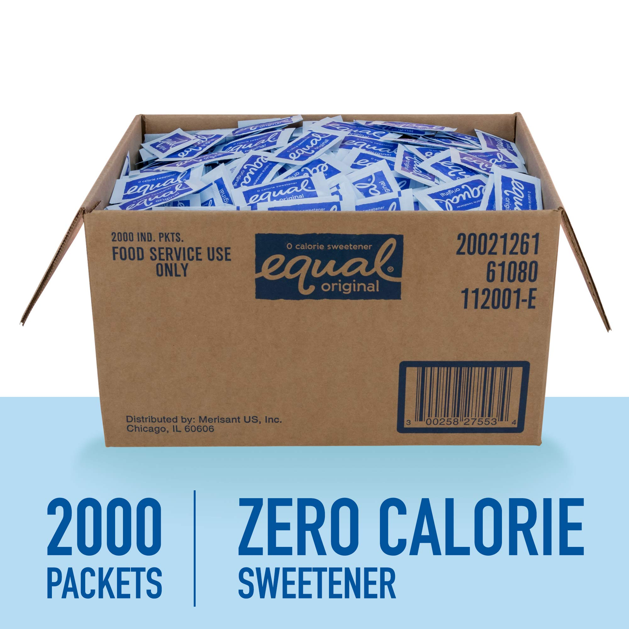 EQUAL 0 Calorie Sweetener, Aspartame Sugar Substitute, Zero Calorie Sugar Free Sweetener Packets, Sugar Alternative, 2,000 Count by Equal