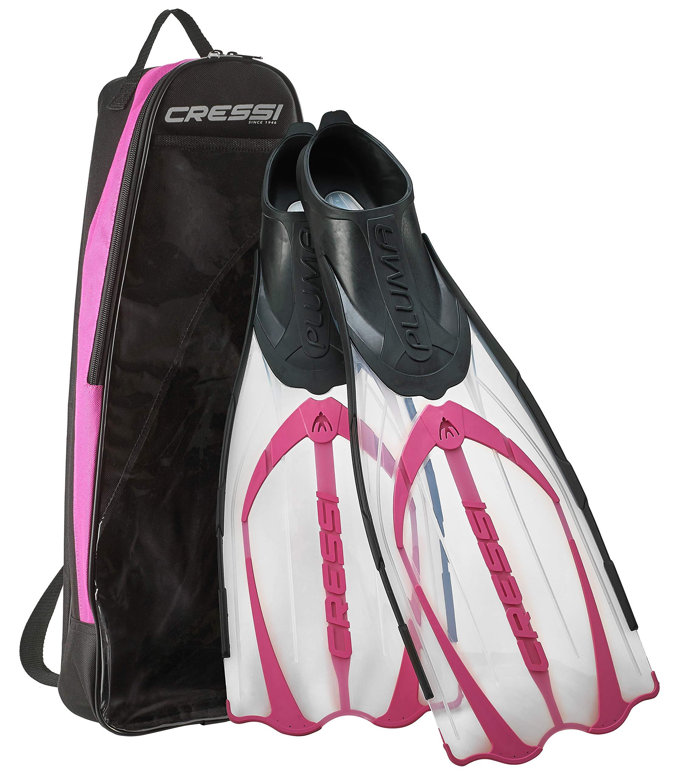 Cressi Pluma Italian Made Full Foot Snorkeling Fins with Snorkel Gear Bag, Pink - US Man 5.5/6.5 | US Lady 6.5/7.5 | EU 37/38 by Cressi