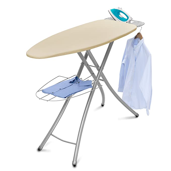 Homz Professional Wide Steel Top Ironing Board, Light Tan Cover
