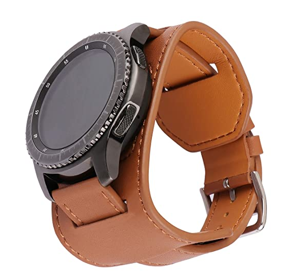 0bb51bf89 SEMILU Bands for Samsung Galaxy Watch(46mm) Gear S3 Watch,22mm Genuine  Leather