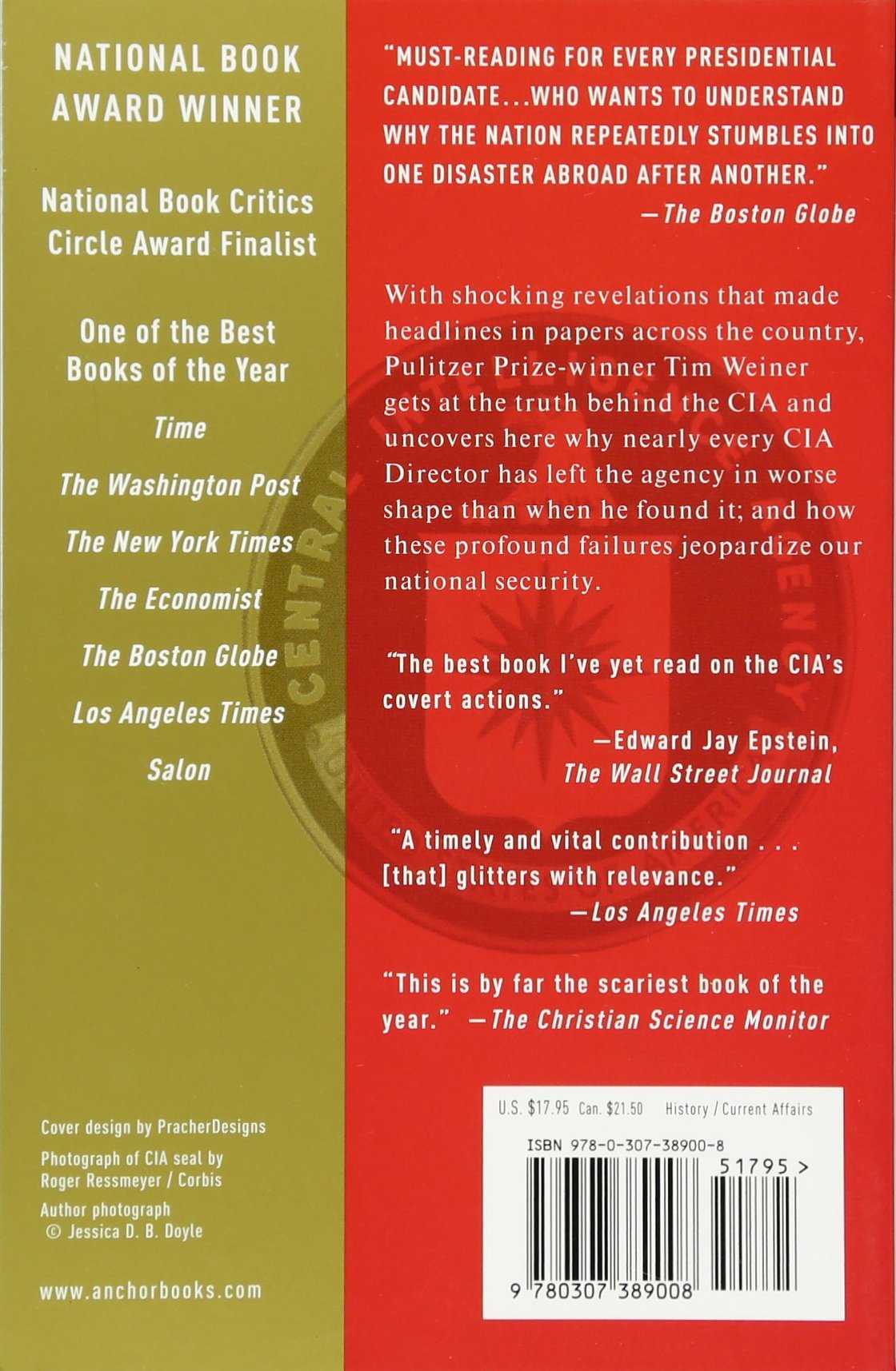 Legacy Of Ashes: The History Of The Cia: Tim Weiner: 9780307389008:  Amazon: Books