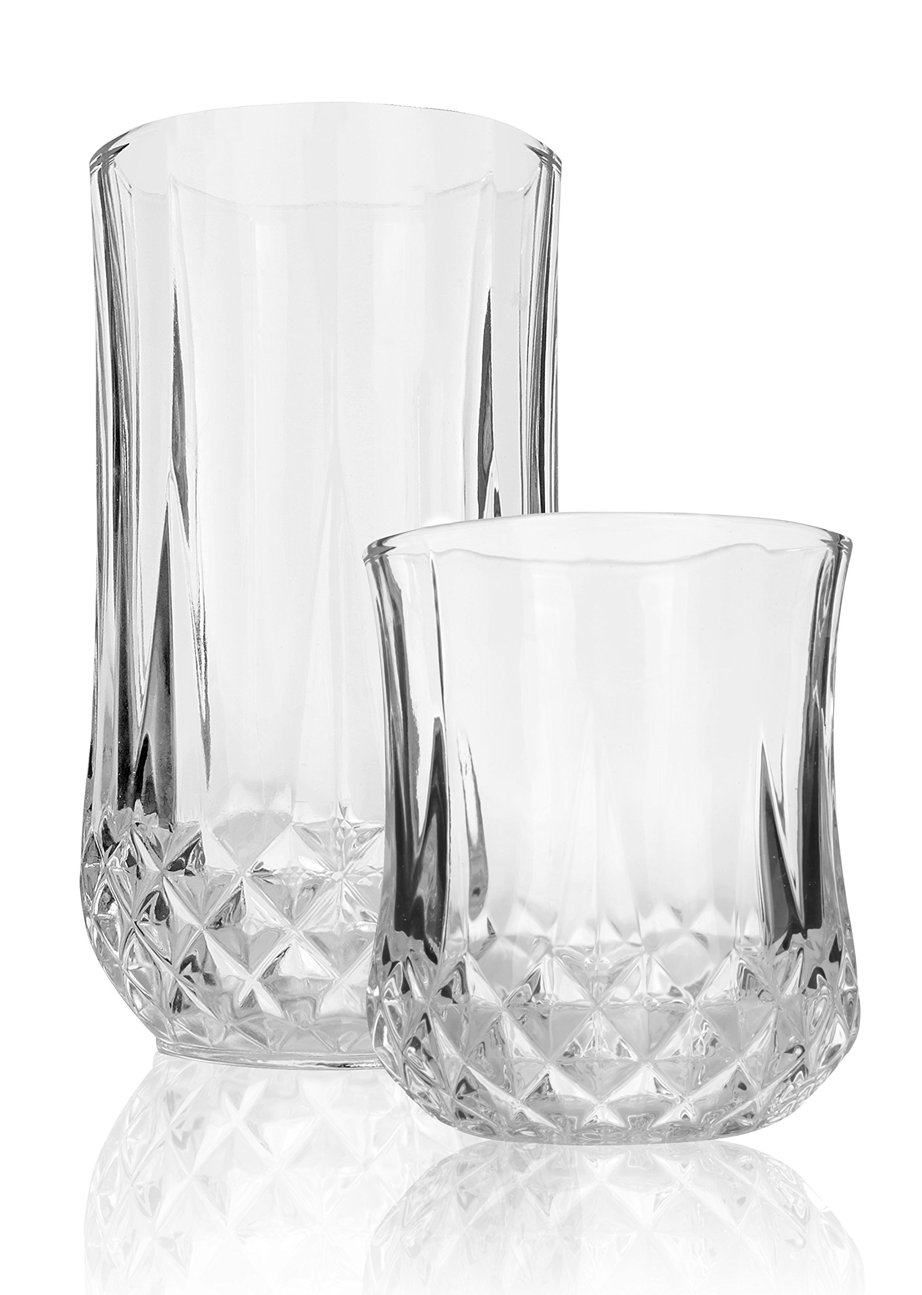 Palais Glassware 'Marseille' Mixed Drinkware, Elegant Diamond Cut Clear Glass set (Set of 12, 6 - 9 Oz. & 6 - 13 Oz.) by Palais Glassware (Image #1)