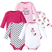 Hudson Baby Unisex Baby Long Sleeve Cotton Bodysuits, BeYOUtiful Long Sleeve 5 Pack, 0-3 Months (3M)