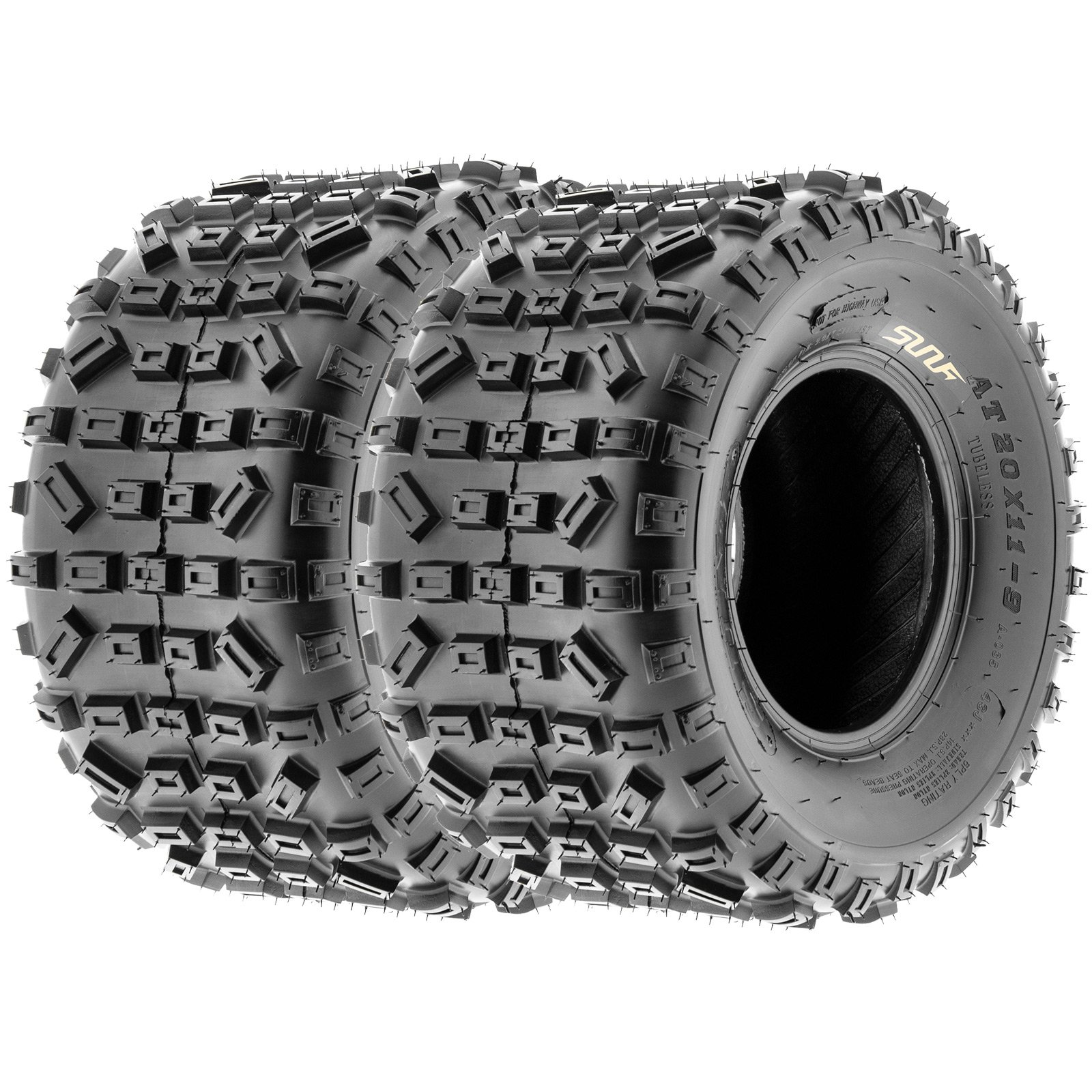 SunF Knobby XC MX ATV Tires 21x6-10 & 20x11-9 6 PR A035 (Full set of 4, Front & Rear) by SunF (Image #3)