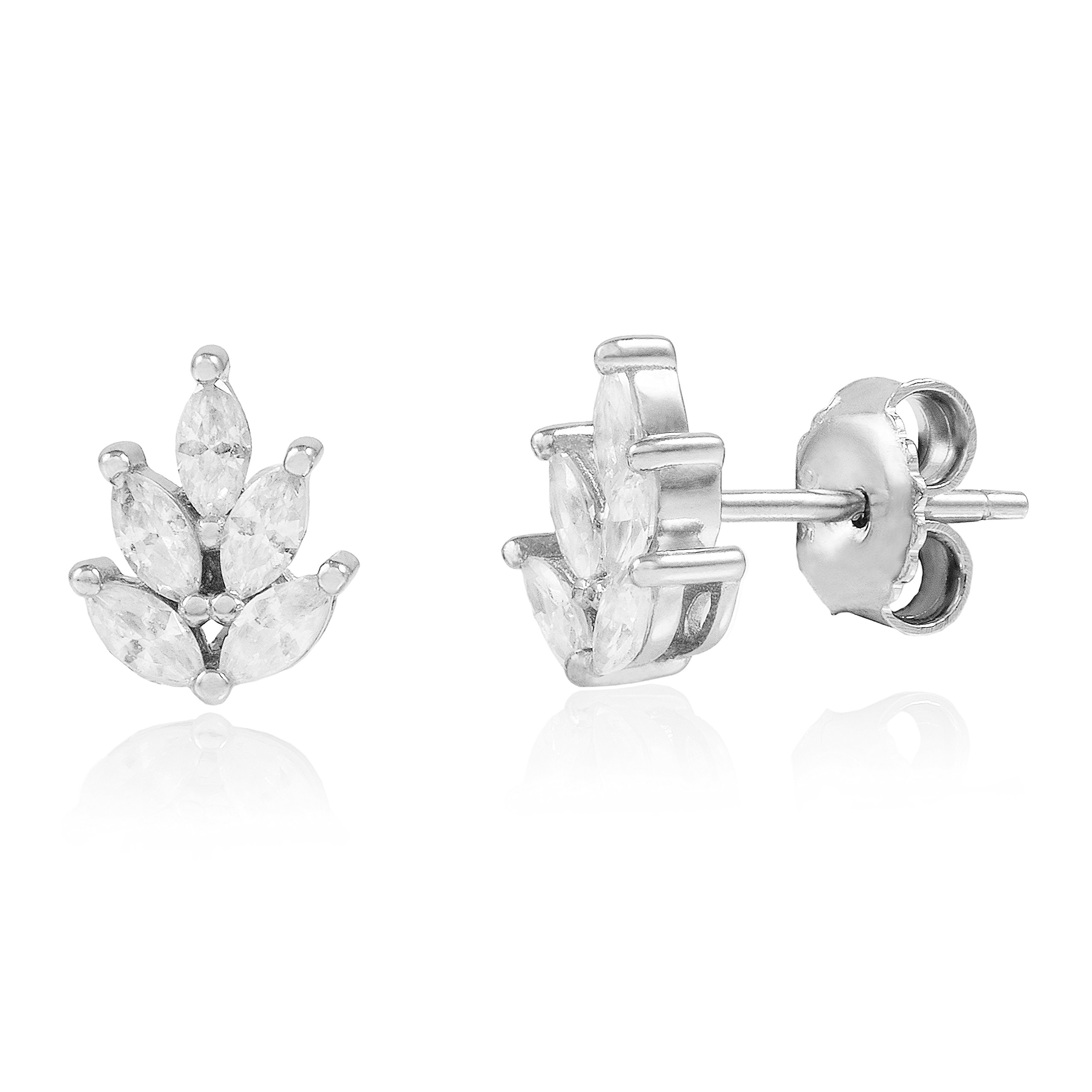 Spoil Cupid Rhodium-Plated Sterling Silver Leaf Marquise Cubic Zirconia Stud Earrings