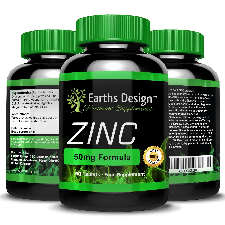 Zinc Suplemento Mineral - Gluconato de Zinc 50mg - 90 Pastillas (Suministro Para 3 Meses) de Earths Design: Amazon.es: Salud y cuidado personal