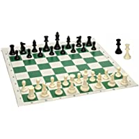 WE Games Best Value Tournament Chess Set - 90% Plastic Filled Chess Pieces and Green Roll-up Vinyl Chess Board