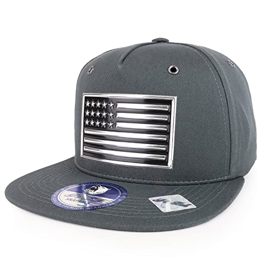 Trendy Apparel Shop Metallic PVC American Flag Cotton Flatbill Adjustable  Snapback Cap - Charcoal Silver 37098fe5272a