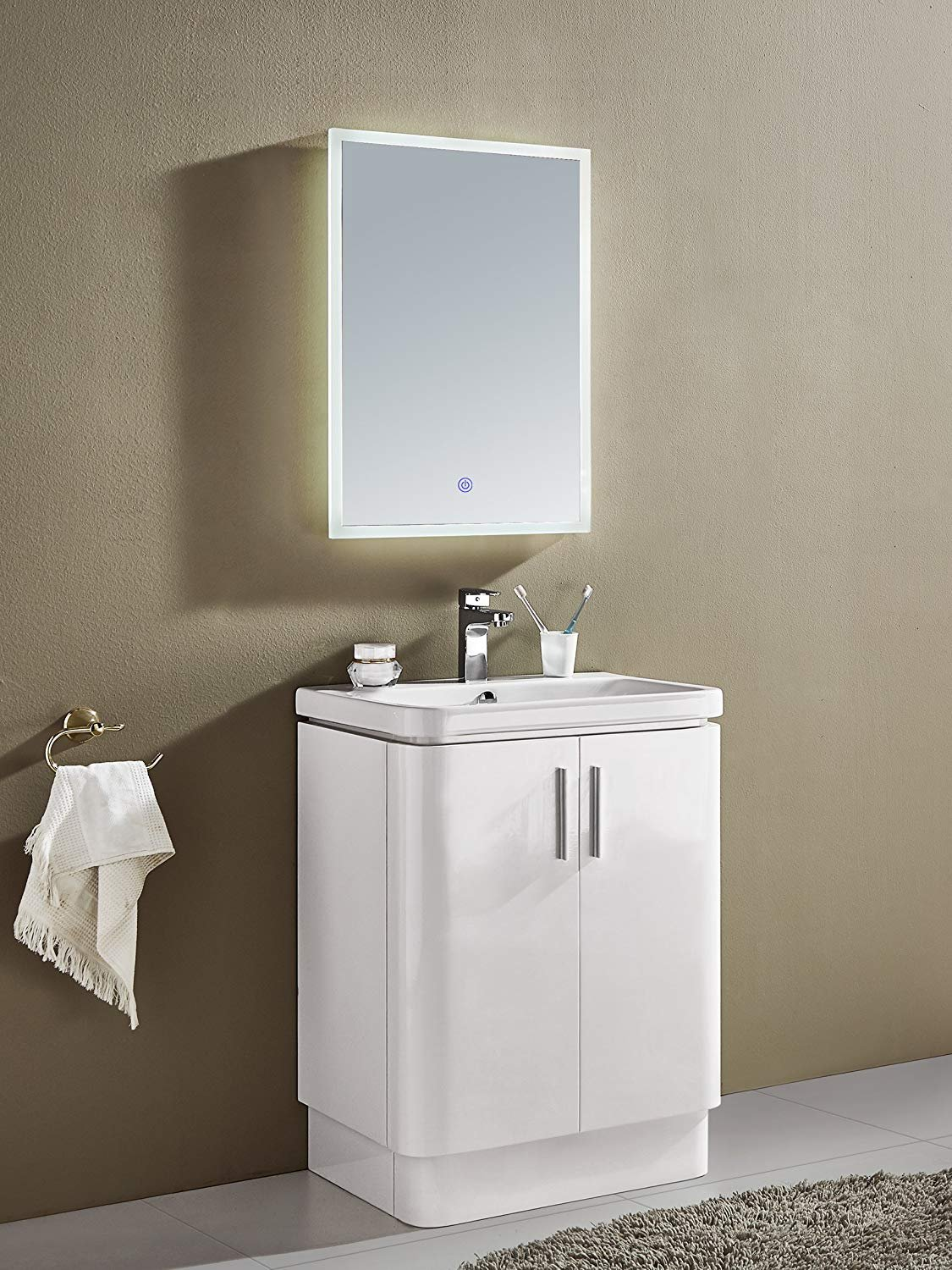 GRACIAS HOME Illuminated Led Bathroom Mirror with Lights,500mm X 700mm, Demister Pad & Touch Switch, LIM01.Toliet Mirror,Cloakromm Mirror, Bathroom Vanity Mirror,Contemporary Bathroom Mirror