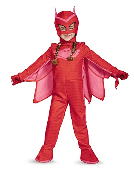 Disguise Owlette Deluxe Toddler PJ Masks Jumpsuit With Attached Boot Covers, Medium/3T-