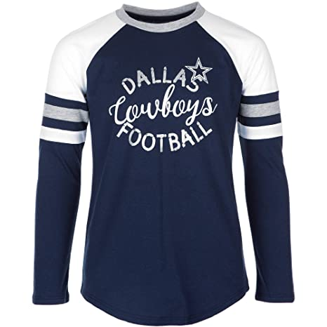 f33afeb3 Licensed Sports Apparel Dallas Football Girls Youth Navy Prim Long Sleeve T- Shirt - XS