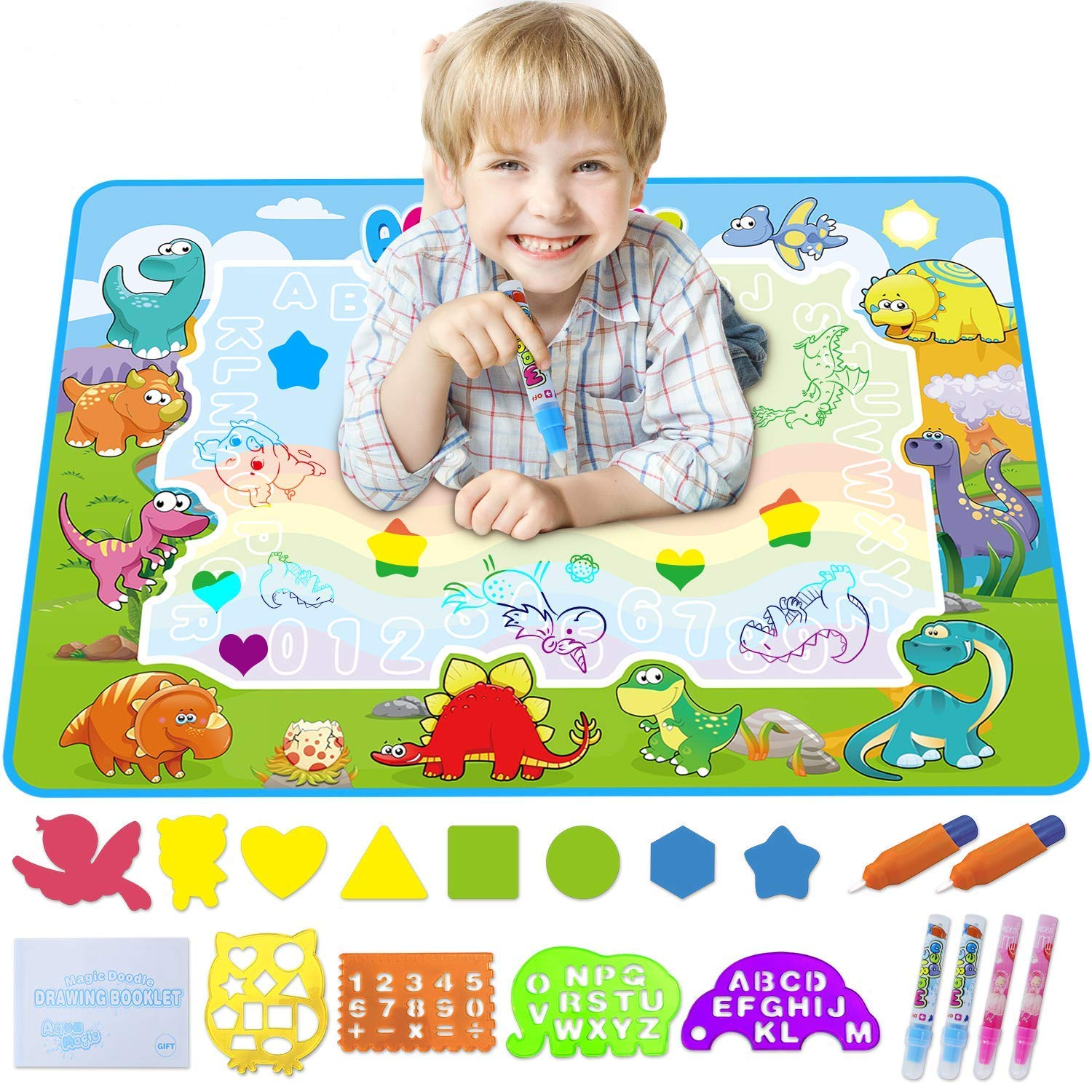 Koviti Aquadoodle Mat 2019 Updated Version, Water Doodle Mat Toy with 20 Drawing Kits, Large Aqua Magic Mat Educational Toys Gifts for 2 3 4 5 6 7+ Year Old Toddlers Kids Girls Boys 39.3'' X 27.5'' by Koviti