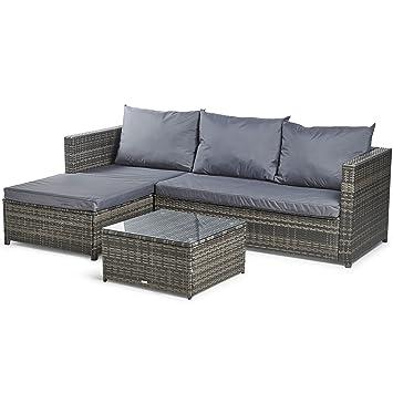 VonHaus Rattan Corner Sofa Set U2013 Large Conservatory, Garden, Patio Set With  Cushions,