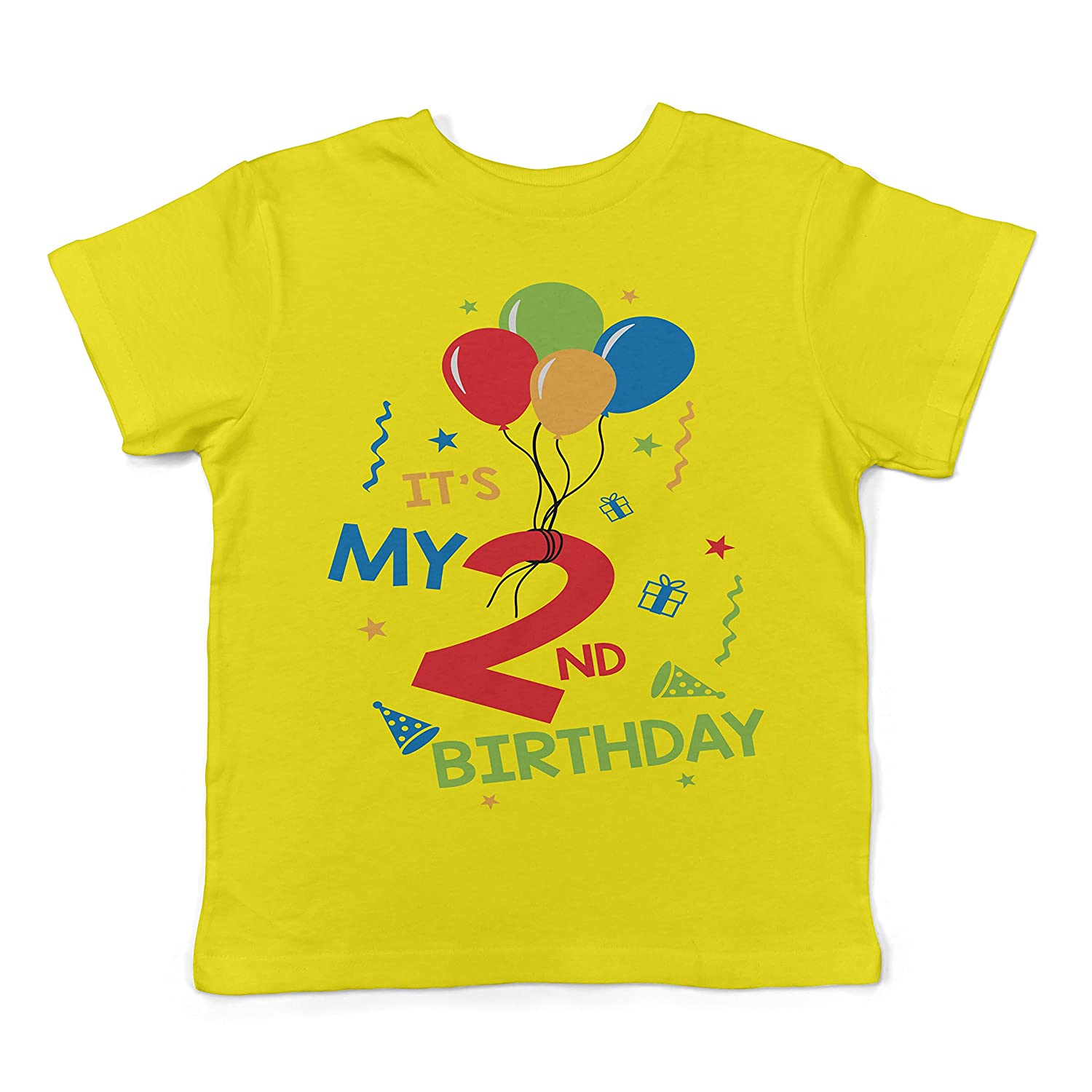 Lil Shirts It's My 2nd Birthday Toddler T-Shirt Yellow)