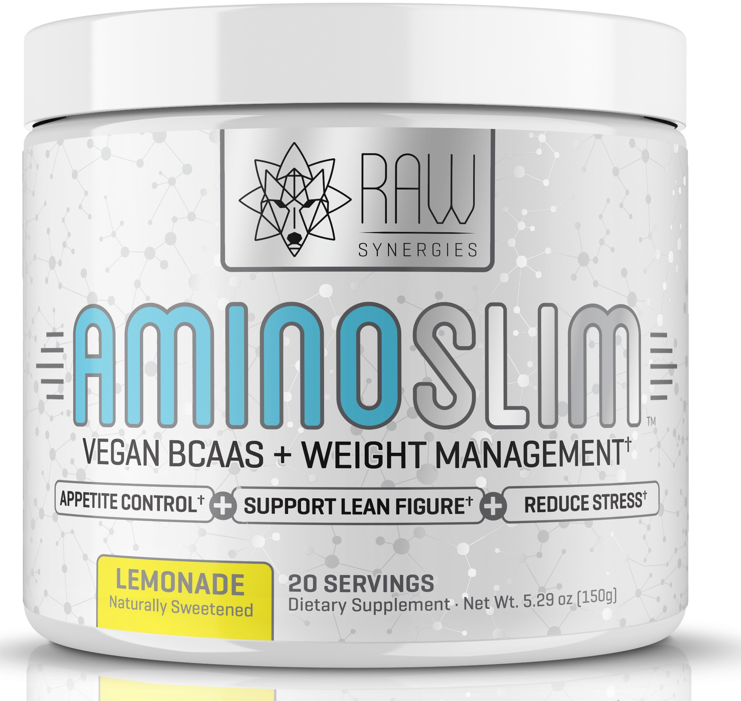 Amino Slim - Slimming BCAA Weight Loss Drink for Women, Vegan Amino Acids & L-Glutamine Powder for Post Workout Recovery & Fat Burning | Daily Appetite Suppressant, Metabolism Booster & Stress Relief by RAW Synergies