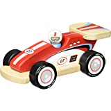 Indigo Jamm Racing Rocky, Wooden Toy Red Race Car, Retro Classic Style Vehicle with Removable Driver